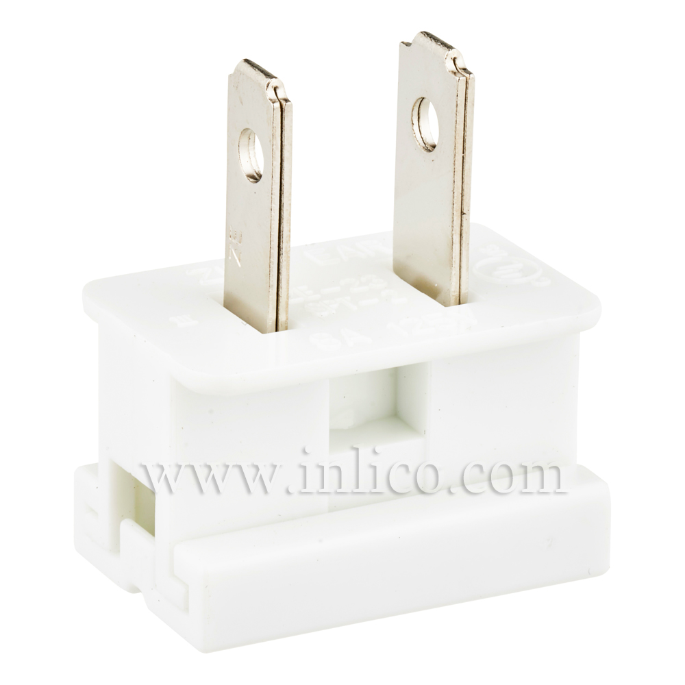 WHITE 2 PIN UL APPROVED USA POLARISED PLUG FOR SPT2 CABLE UL File No. E152761