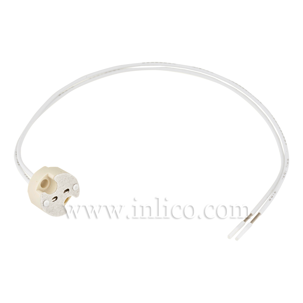 GU5.3 LOW VOLTAGE LH + 20CM. PTFE CABLE AND BOOTLACED ENDS TEMPERATURE RANGE -100DEG C TO +250 DEG C