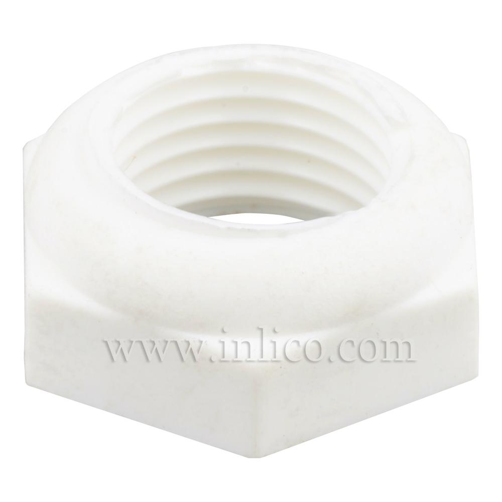 10MM PLASTIC HEX BEVELLED LOCKNUT WHITE 6mm (3mm HEX 3mm BEVEL) 14AF. F004/A/WHT