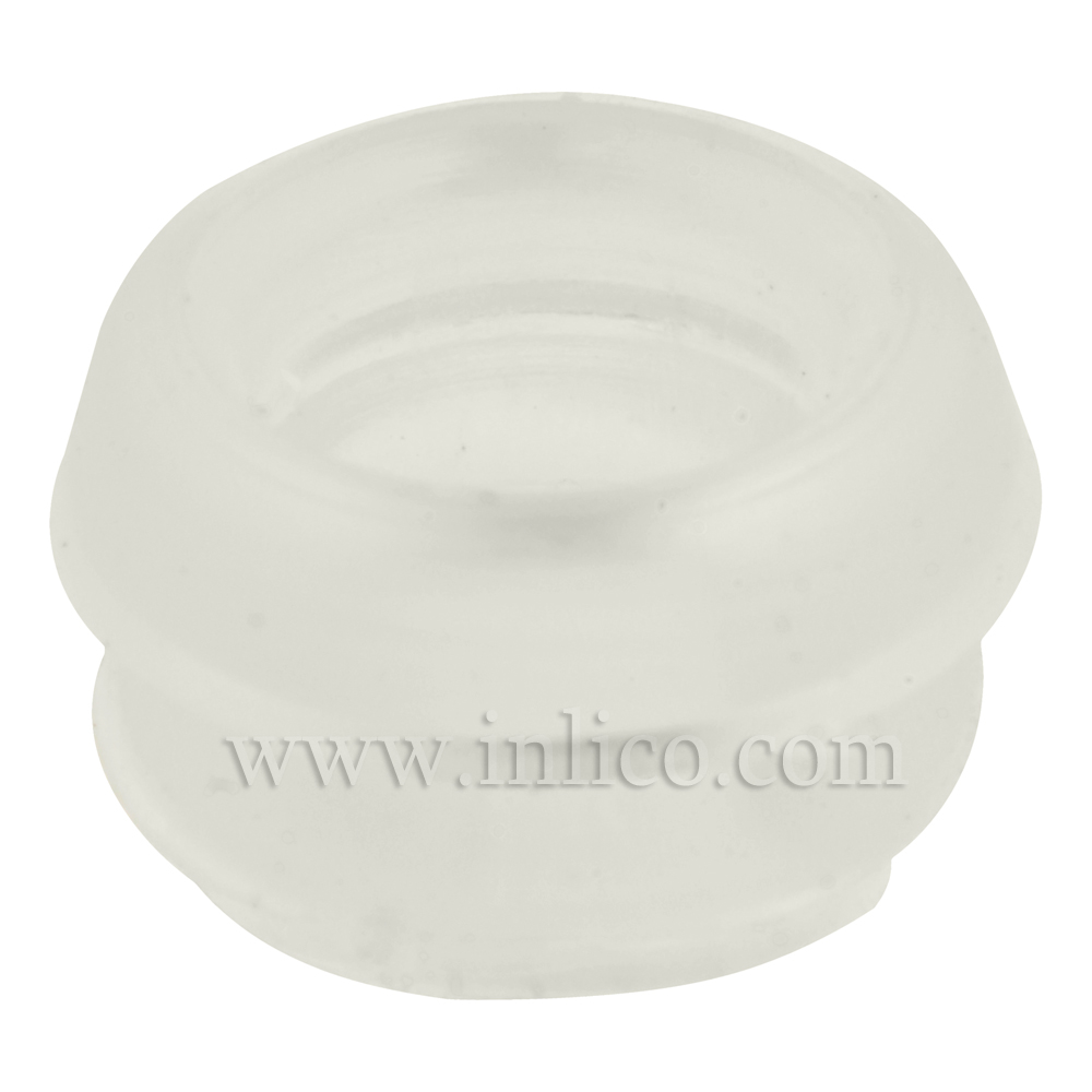 SMALL CIRCULAR OPEN LAMP BASE GROMMET CLEAR 5.2MM INTERNAL ,7.6MM OAD (NOT INC LIP) 6MM HIGH