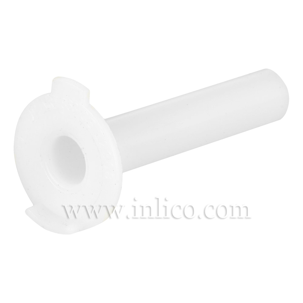 CABLE ISOLATOR FOR E14/B15 LAMPHOLDER WITH ANTI-ROTATION TAG 16MM OD X 35MM LONG SHANK PLASTIC WHITE (863)