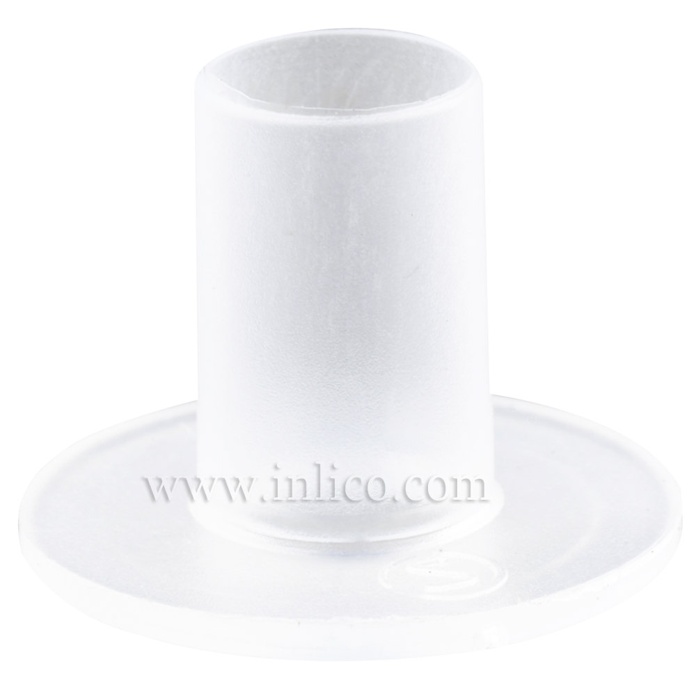 CABLE ISOLATOR FOR E14/B15 LAMPHOLDER 16MM OD X 12MM LONG SHANK HEAT RESISTING NYLON CLEAR