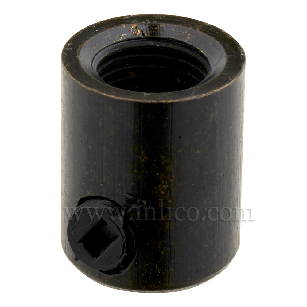 BRASS CORDGRIP FEMALE M10X1 DARK BRONZE FINISH WITH BLACK PLASTIC GRUBSCREW