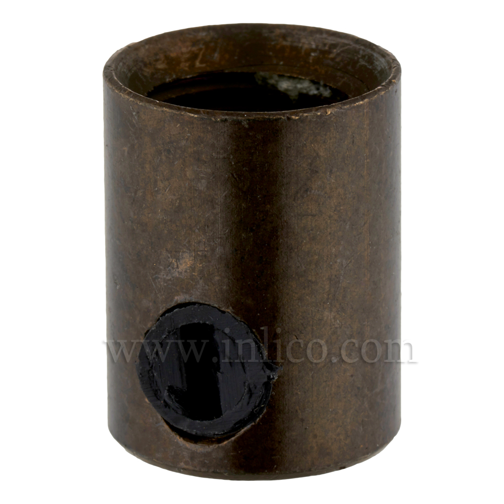 BRASS CORDGRIP FEMALE M10X1 OLD ENGLISH FINISH WITH BLACK PLASTIC GRUBSCREW