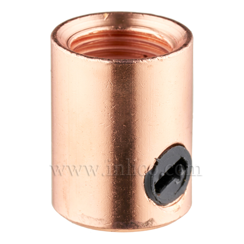 CORDGRIP FEMALE M10X1 BRIGHT COPPER FINISH WITH BLACK PLASTIC GRUBSCREW
