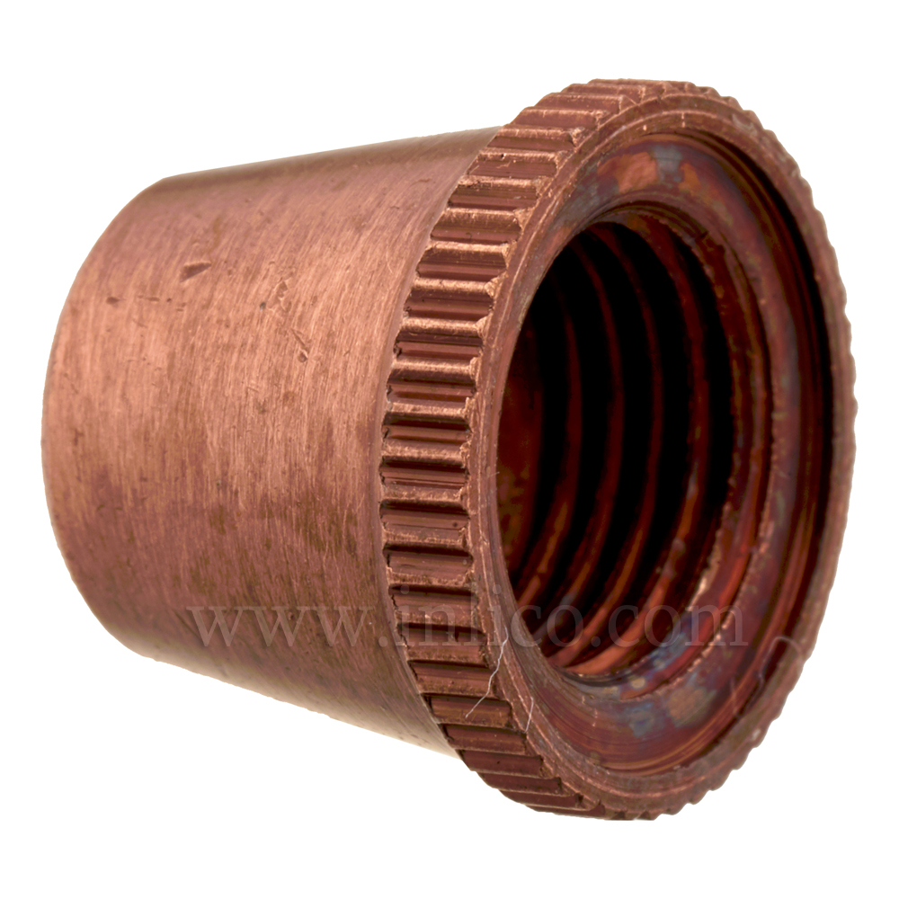 SHORT CAP FOR 2-PART LOCKING CORDGRIP ANTIQUE COPPER FINISH ON BRASS