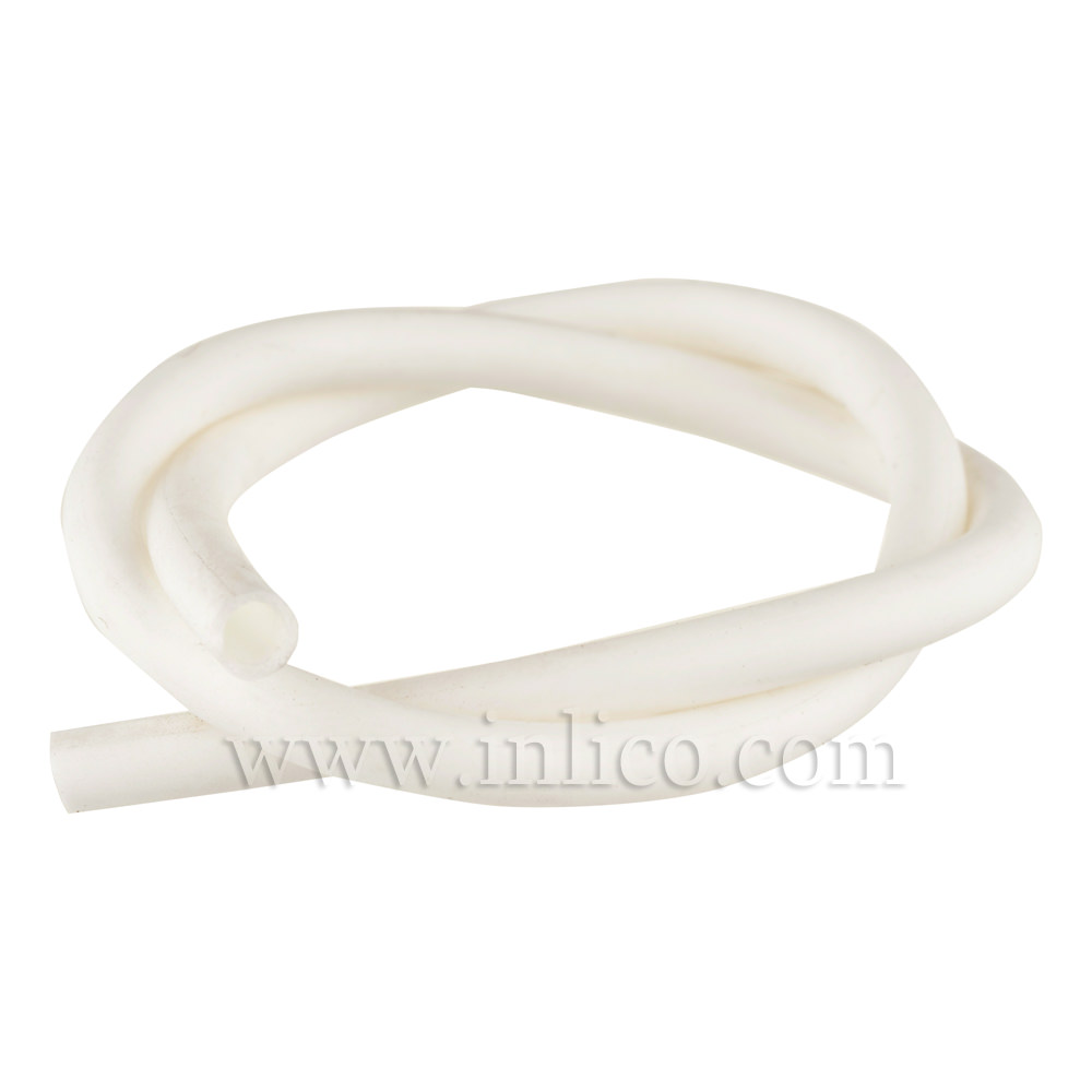 SILICONE SLEEVNG 3MM ID 4MM OD 60 deg SHORE HARDNESS WHITE TEMPERATURE RANGE -40 deg C TO +200 deg C.50M ROLL