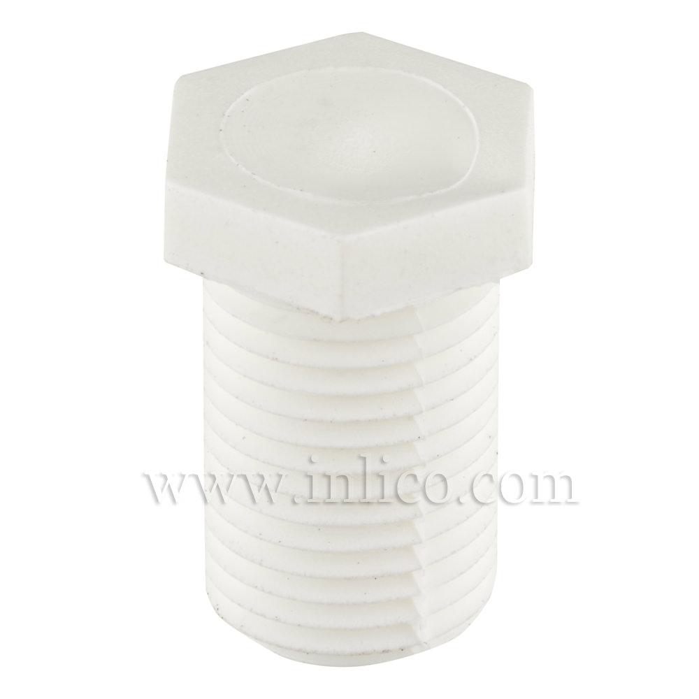 10MM PLASTIC NIPPLE SHORT WHT 13MM OAL 10 MM THREAD LENGTH