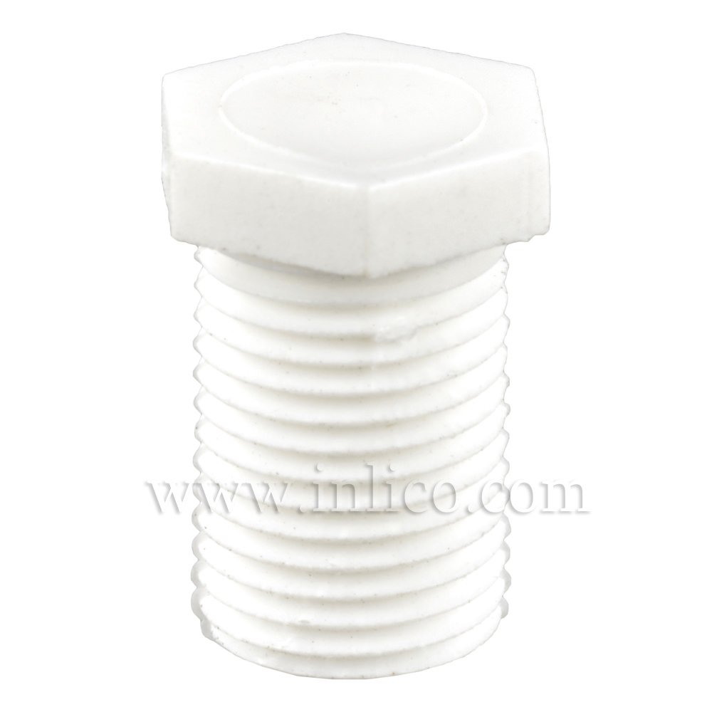10MM PLASTIC NIPPLE WHITE - BLANK 15MM THREAD/OAL 18MM