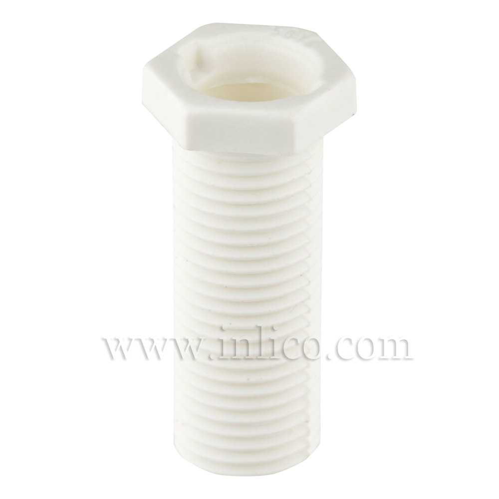 M10X1 PLASTIC NIPPLE WHITE 18mm OAL 15mm  THREAD LENGTH