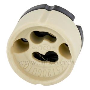 GU10 HALOGEN L/HOLDER FOR 240V HALOGEN LAMP WITH PUSH FIT TERMINALS T250 VDE & UL APPROVED