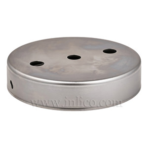 RAW STEEL CEILING CUP 100MM DIA. X 22MM 10.5MM CENTRE HOLE & 2 RADIAL HOLES