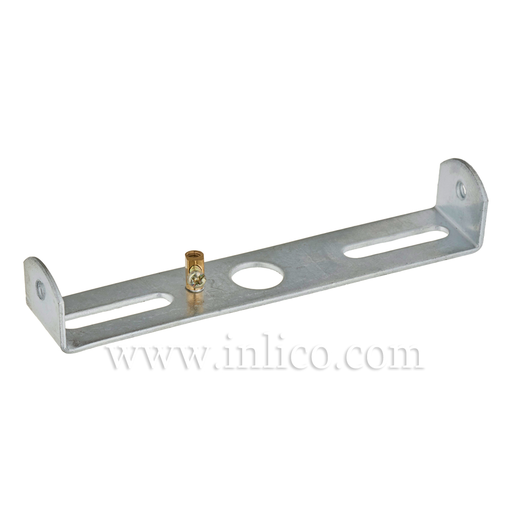 BRACKET WITH EARTH FOR 100mm CEILING CUP 6.1008 GALVANIZED STEEL WITH M4 SIDE HOLES