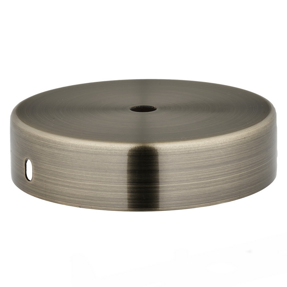 ANTIQUE FINISH STEEL CEILING CUP 100MM DIA X 25MM 10.5MM CENTRE HOLE & M4 SIDE HOLES FOR FIXING BRACKET