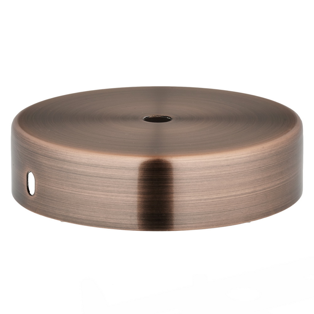 ANTIQUE COPPER FINISH STEEL CEILING CUP 100MM DIA X 25MM 10.5MM CENTRE HOLE & M4 SIDE HOLES FOR FIXING BRACKET