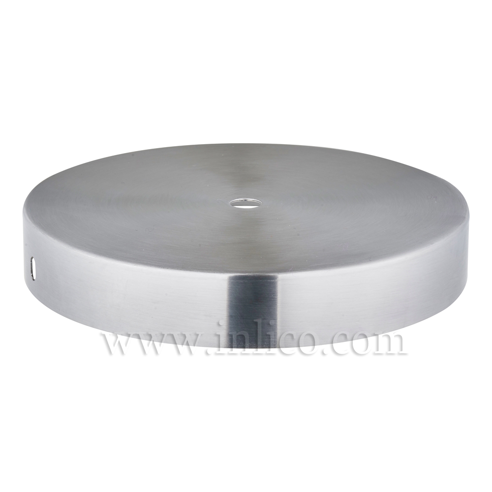 RAW STEEL CEILING CUP 150MM DIA. X 25MM 10.5MM CENTRE HOLE & M4 SIDE HOLES FOR FIXING BRACKET