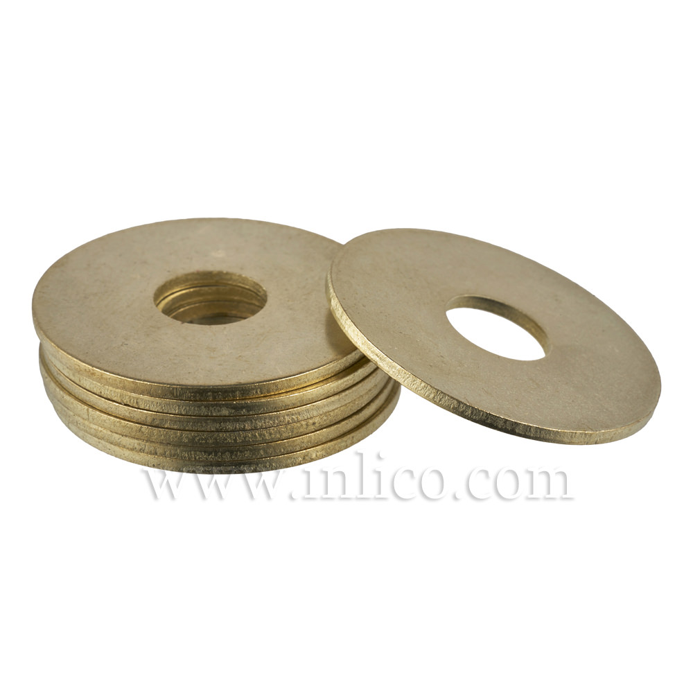 32MM X 1MM THICK STEEL WASHER BRASS PLATED 10.5MM HOLE  E045/C