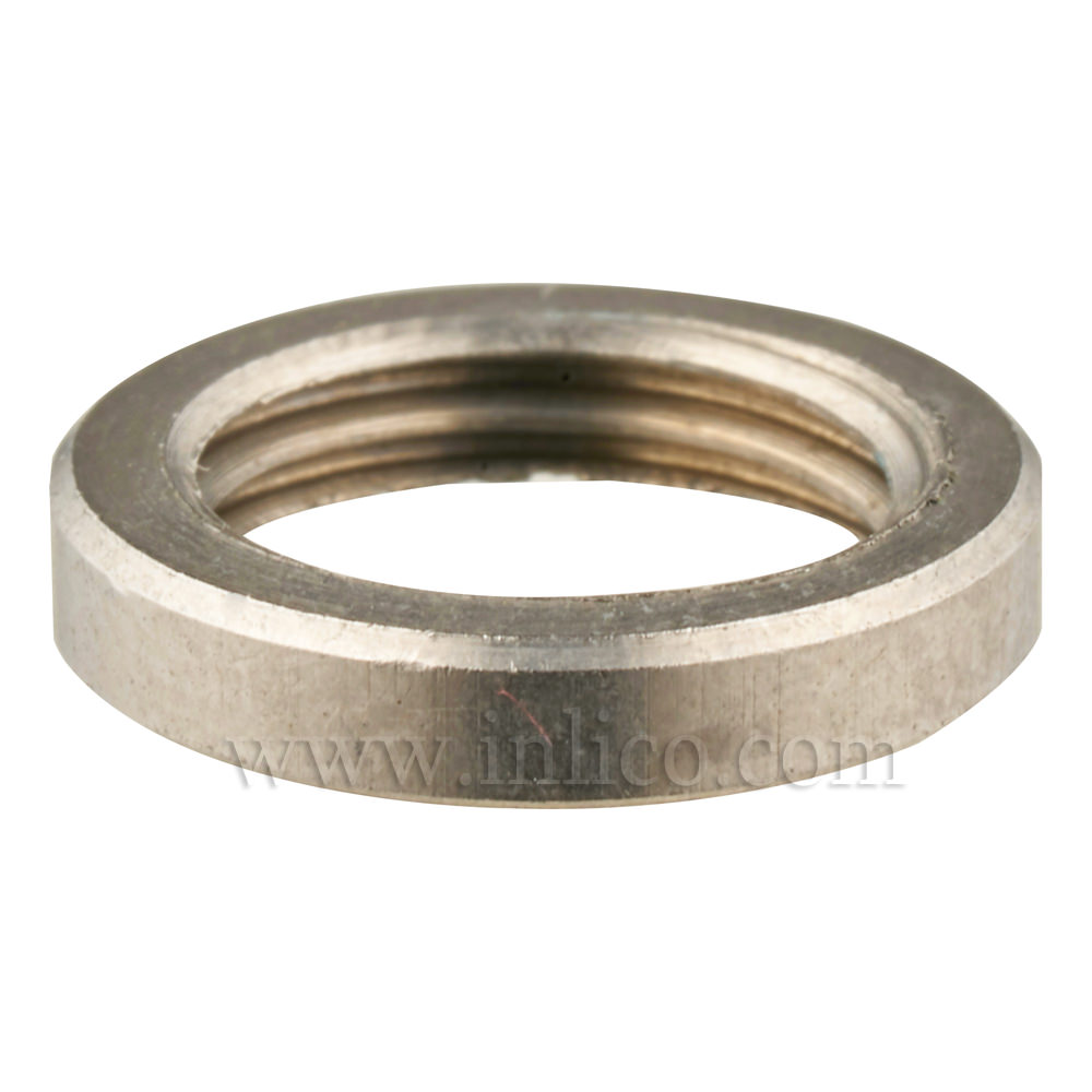 M10 X 1 BRASS RING NUT 2.5MM THICK 13MM OD, NICKEL PLATED FINISH