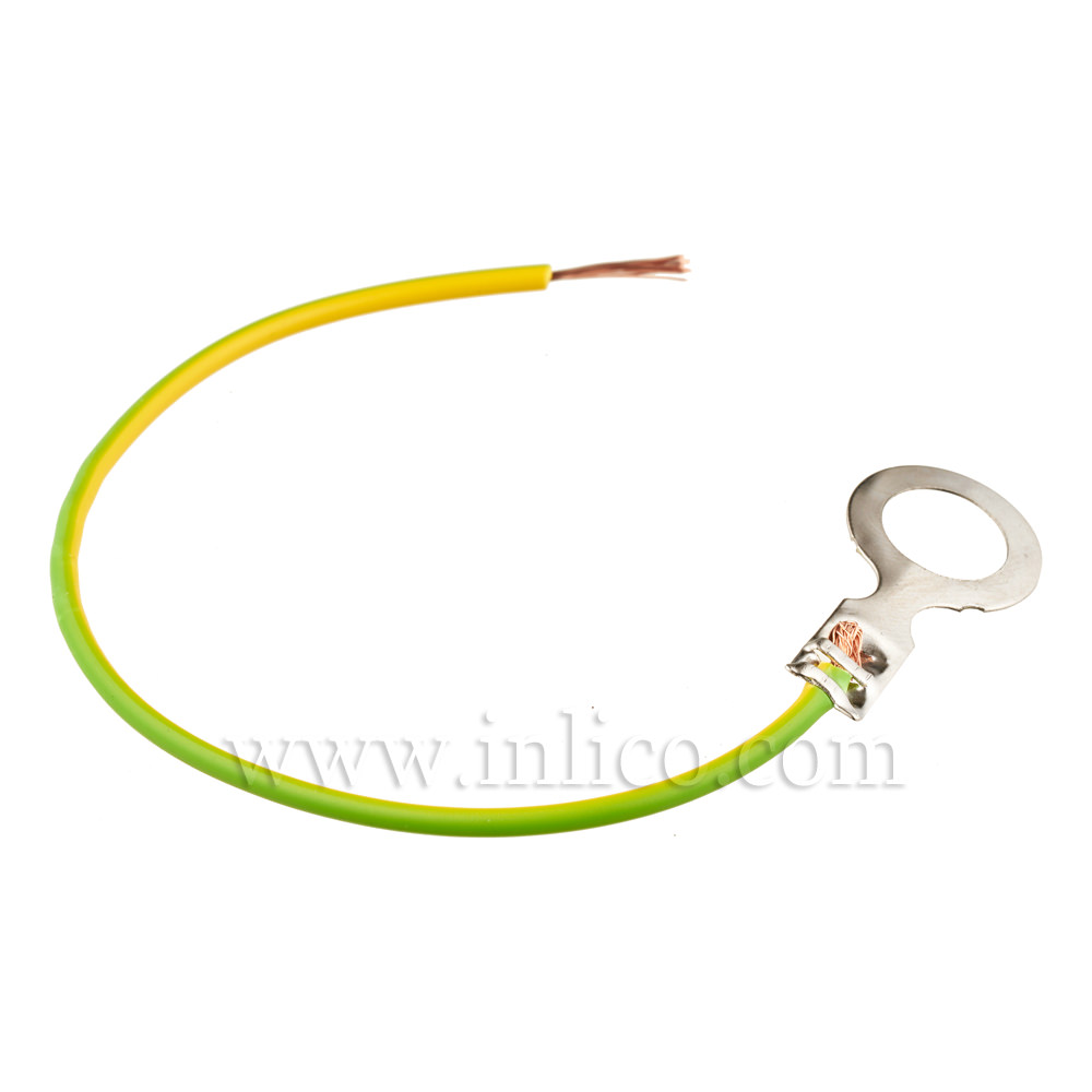 """UNINSULATED RING TERMINAL 1.5 X 3.7MM WITH 6"""" 2491X 0.5MM G/Y"""