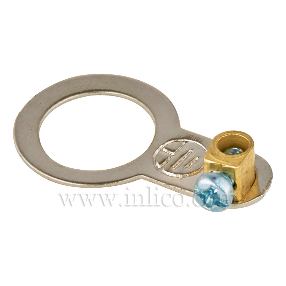 10.5MM  HOLE DIAMETER ZINC PLATED EARTH TAG WITH SCREW TERMINAL, 25MM OAL