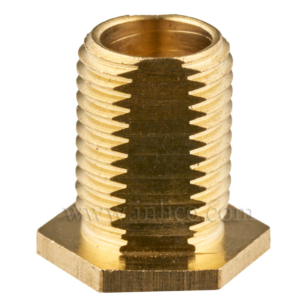 PROFILED BRASS NIPPLE WITH 13MM THREAD LENGTH M10X1 OAL 15MM HEX HEAD