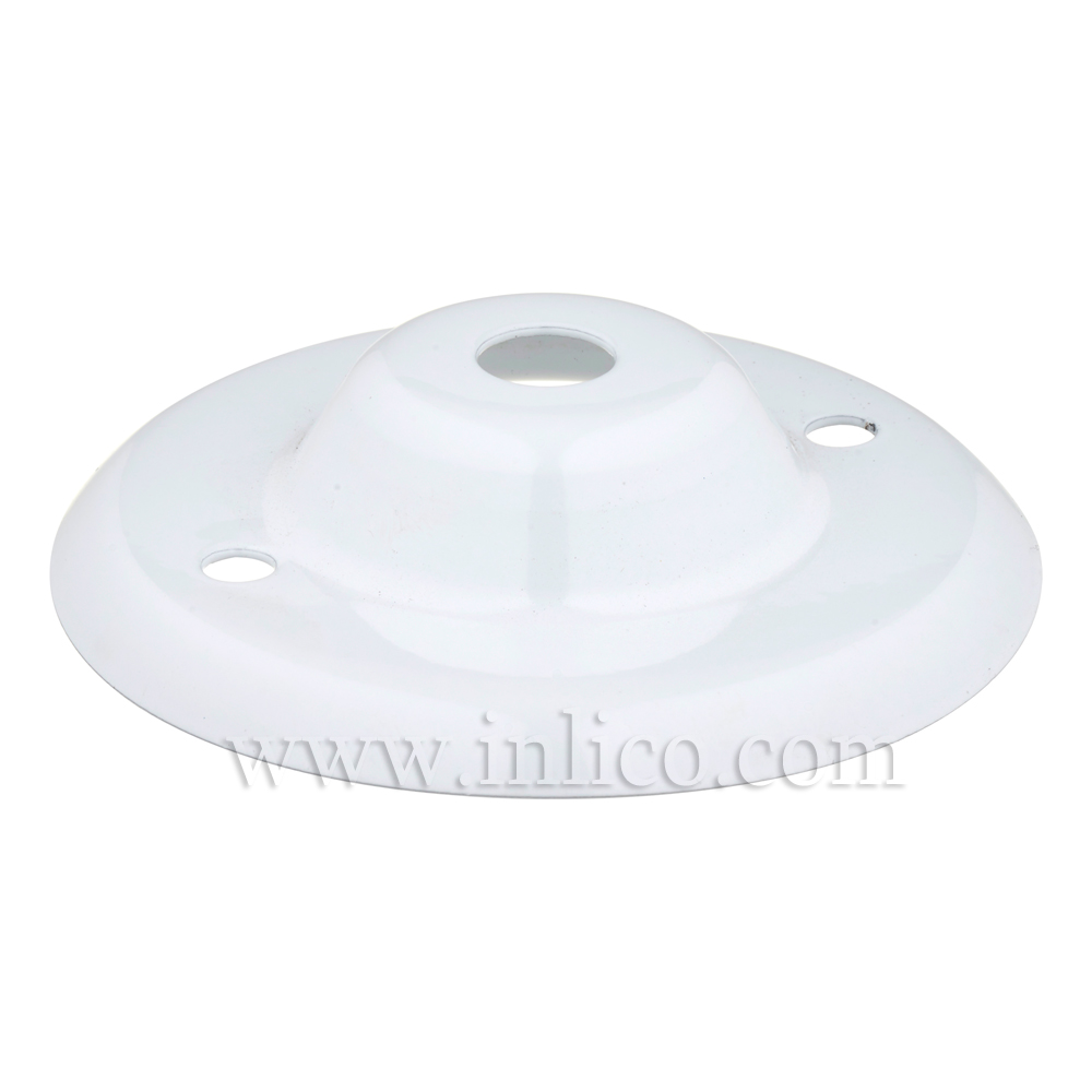 "13MM CEILING PLATE WHITE POWDER COATED FINISH WITH 2"" BESA FIXING HOLES"