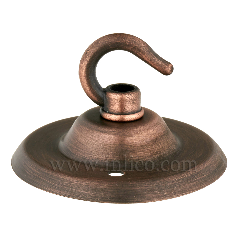 ANTIQUE COPPER FINISH CEILING HOOK PLATE - BESA FIXING - OAD74MM