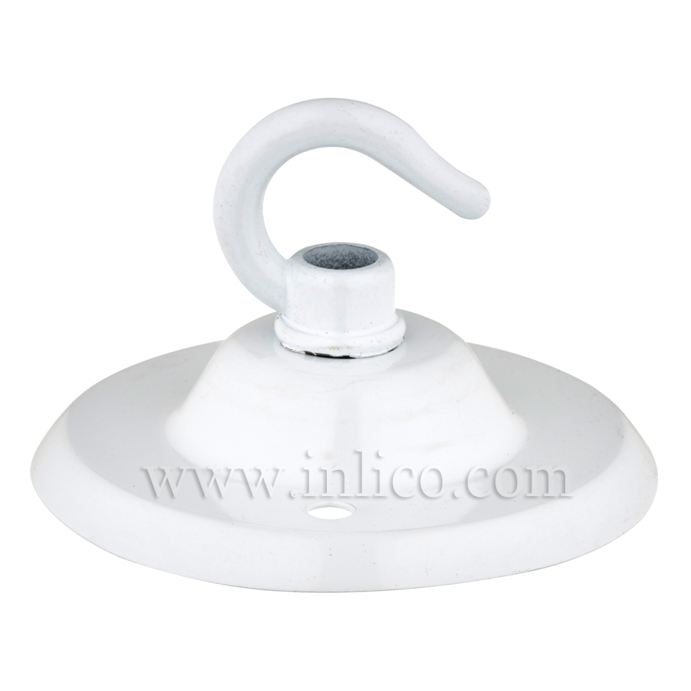 WHITE POWDER COATED CEILING HOOK PLATE- BESA FIXING - OAD74MM