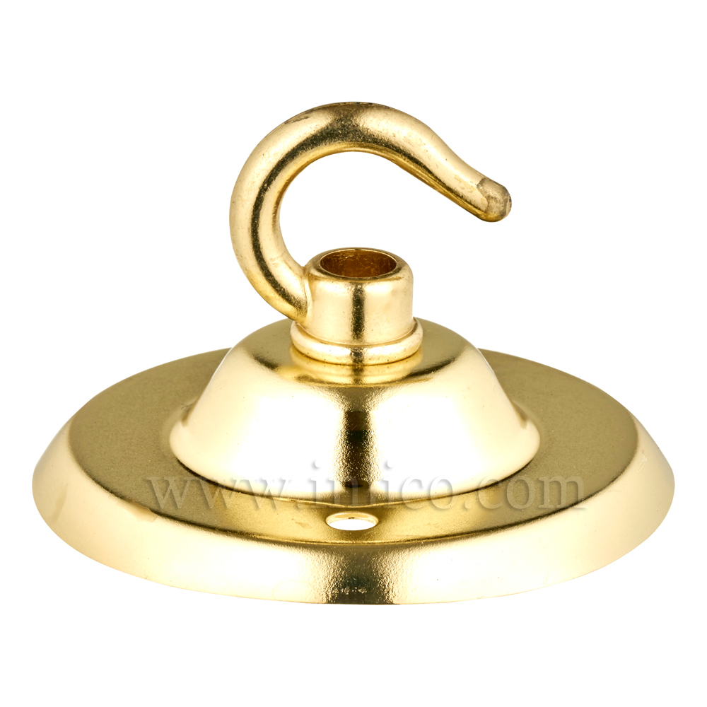 BRASS PLATED CEILING HOOK AND PLATE - BESA FIXING - OAD74MM