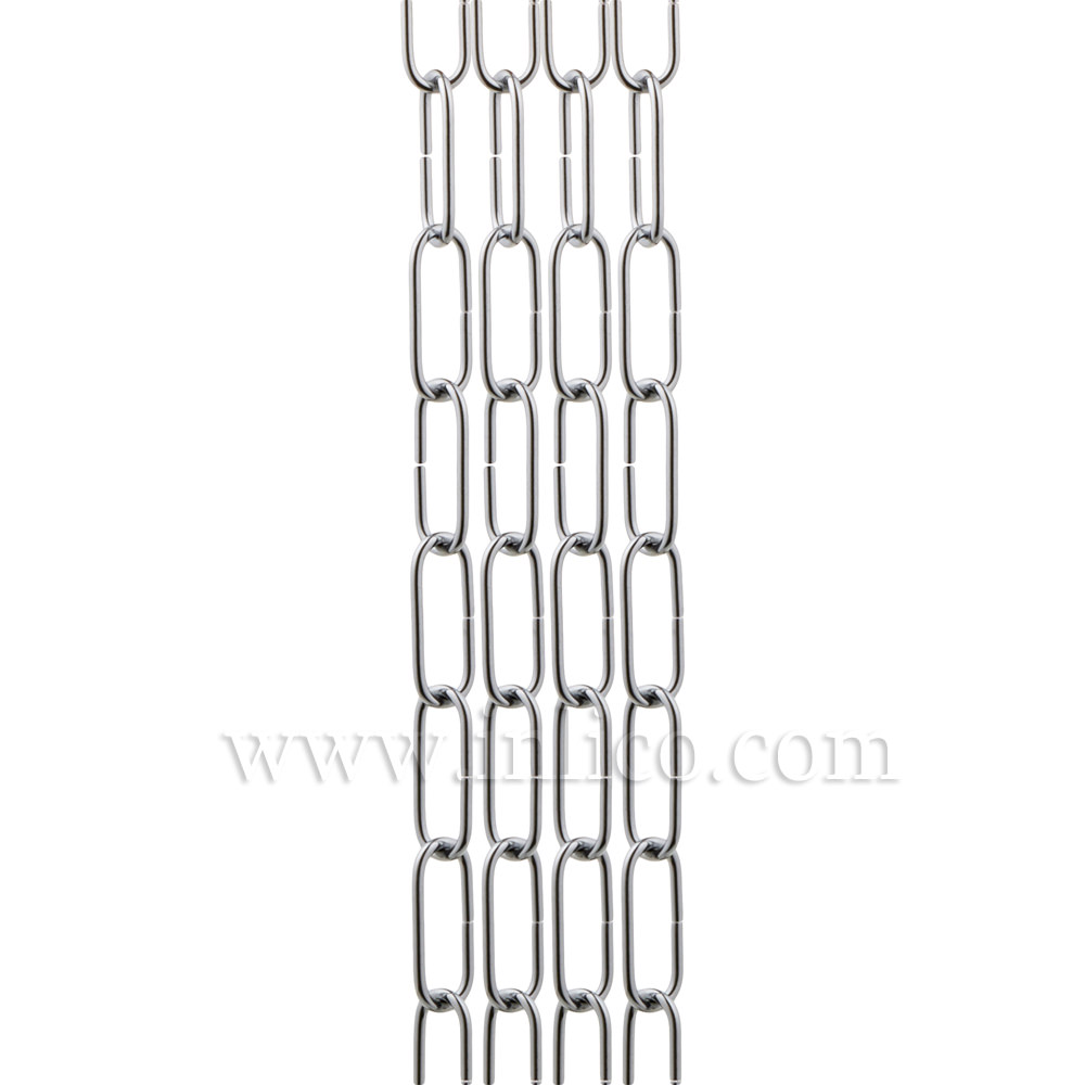 CHROME PLATED SUSPENSION CHAIN 2.7mm WIRE GAUGE 34mm x 10mm LINK (Internal)