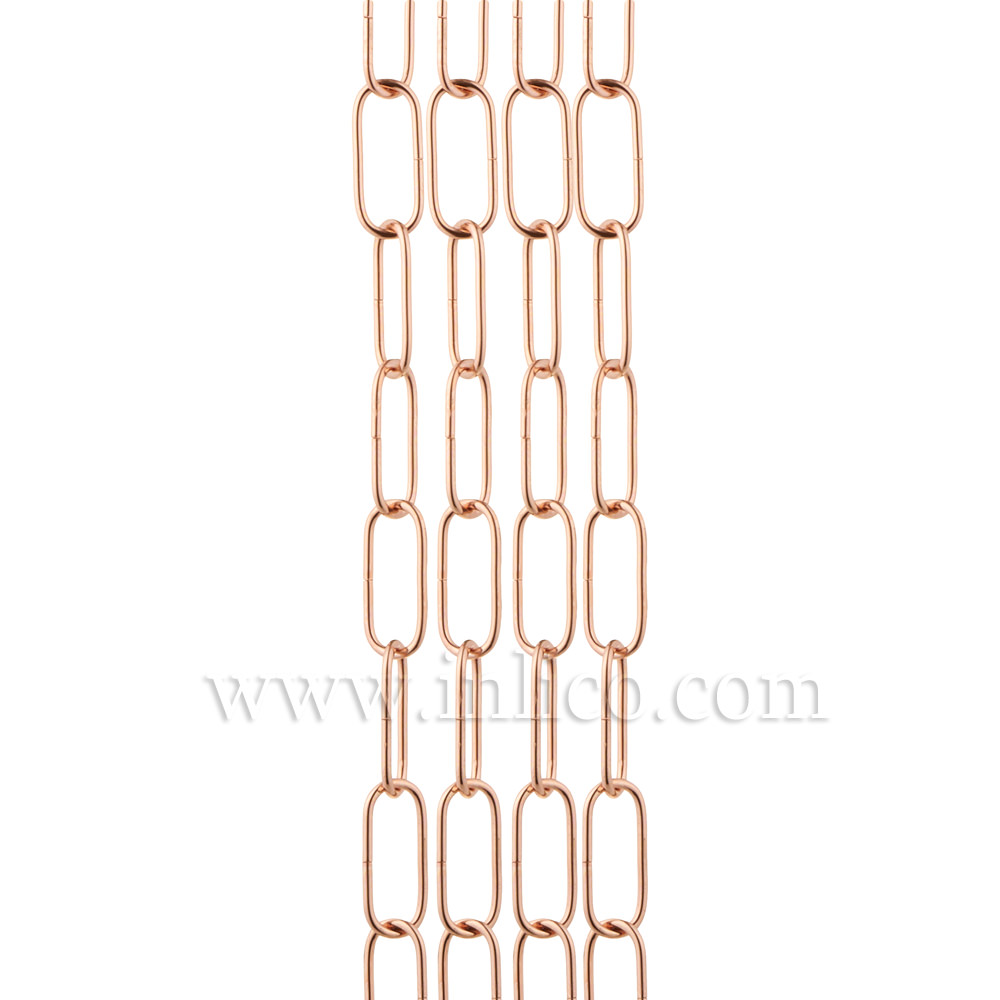 COPPER PLATED SUSPENSION CHAIN 2.9mm WIRE GAUGE 34mm x 12mm LINK (Internal)