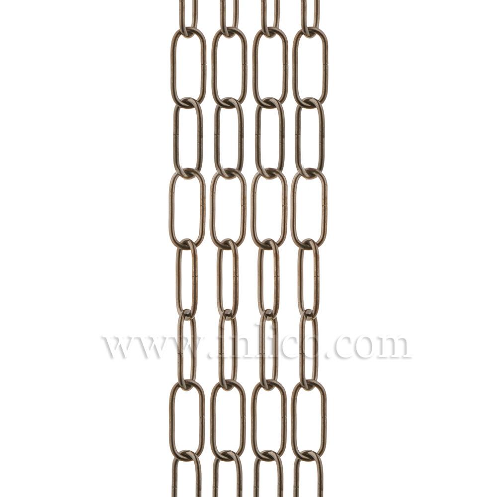 HEAVY DUTY BLACK NICKEL CHAIN 3.6mm WIRE GAUGE 40mm x 14mm LINK (internal)