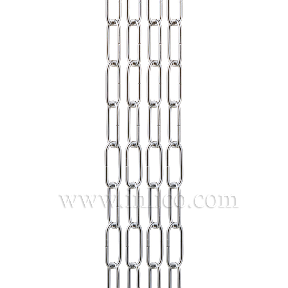 HEAVY DUTY CHROME PLATED CHAIN 3.9MM WIRE GAUGE ID 39MM X 13MM OD, 47.5MM X 20.3MM