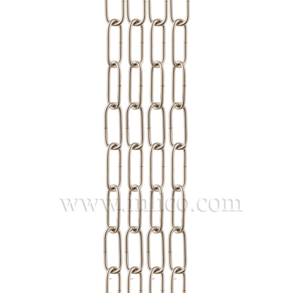HEAVY DUTY NICKEL PLATED CHAIN 3.6mm WIRE GAUGE 39mm x 13mm LINK (internal)