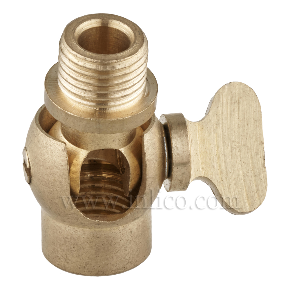 10MM M-F GAS TAP KNUCKLE RAW BRASS WITH LOCKING THUMBSCREW 27X16MM FOR 3 CORE CABLE