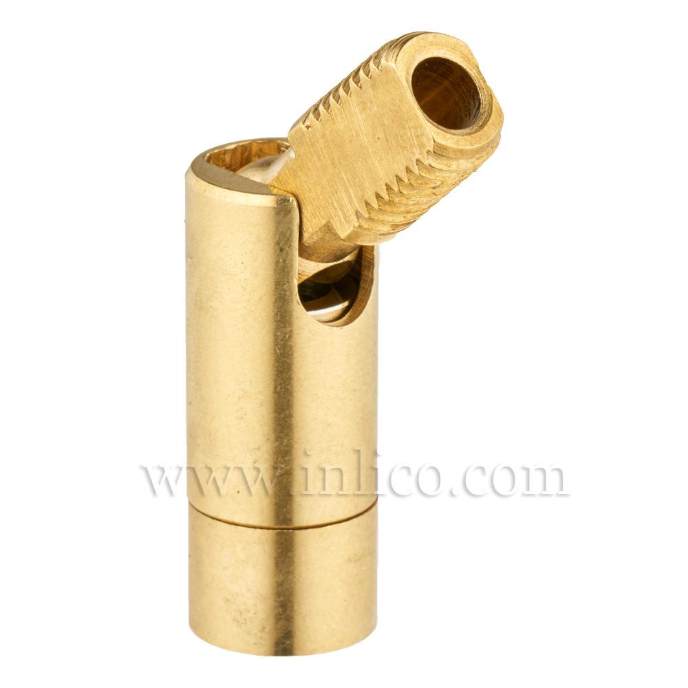 M8 M - M8 F 90DEG KNUCKLE JOINT RAW BRASS OAL 38MM DIA 10MM  female thread depth 7mm  female thread depth 4mm