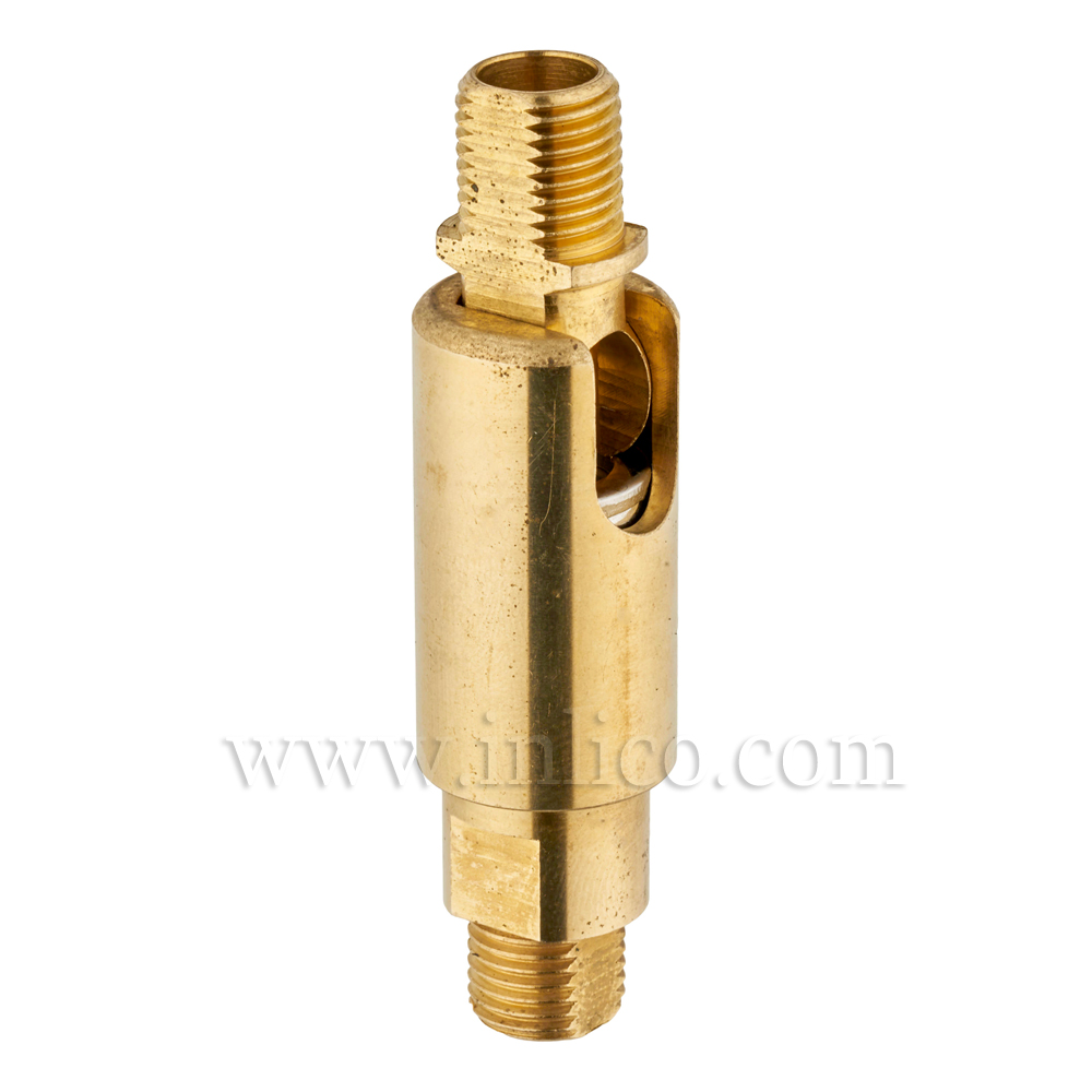 M10X1 MALE/MALE KNUCKLE JOINT RAW BRASS 61mm DIA 16mm