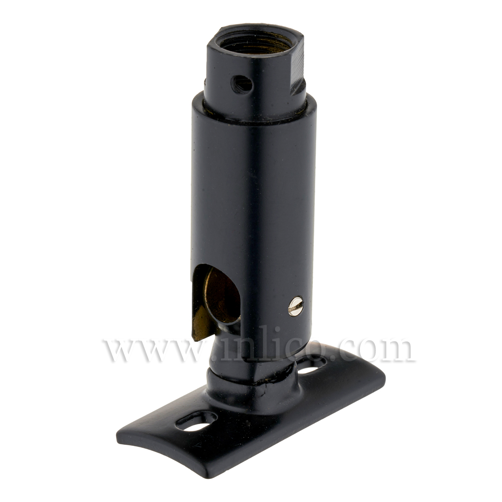 10MM FEMALE SWIVEL/KNUCKLE JOINT WITH FIXING PLATE - BLACK POWDER COATED. BENDS TOWARDS SHORT SIDE OF PLATE (E070/D)