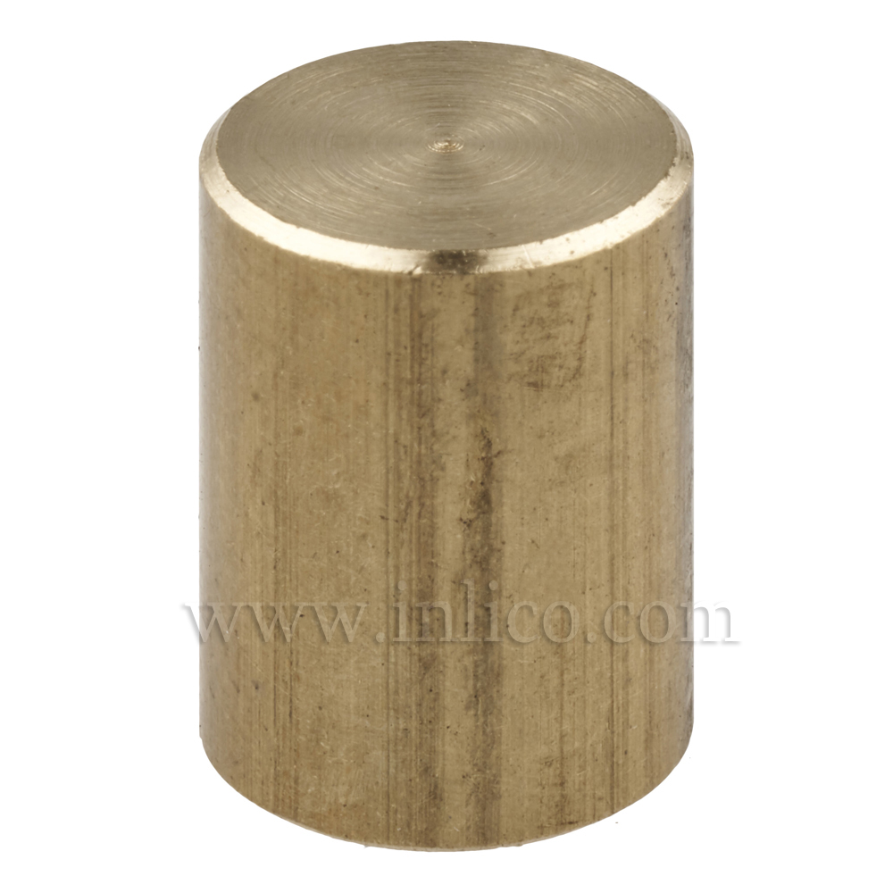 RAW BRASS CYLINDER FINIAL M10x1 13MM O/D x 18MM HEIGHT