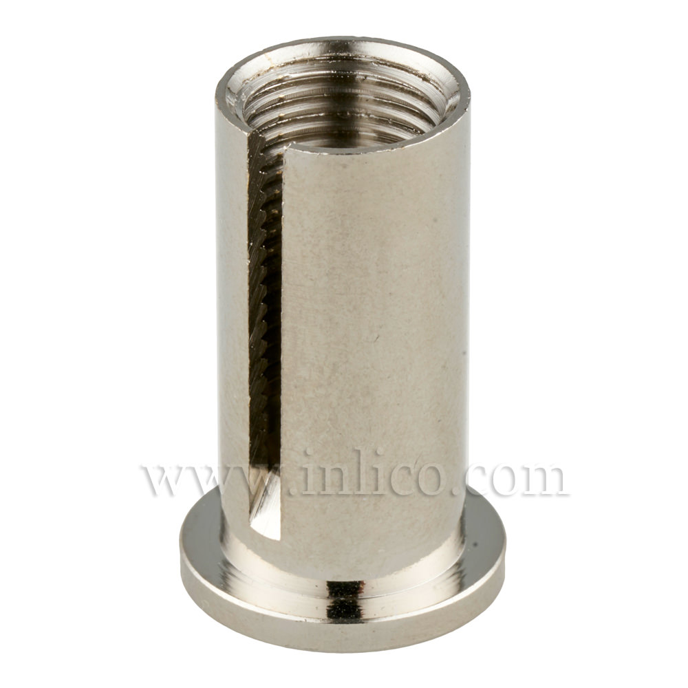 CEILING ATTACHMENT FOR SUSPENSION CLUTCH NICKEL PLATED BRASS CYLINDRICAL CROSS SECTION 16MM TOP OD 12MM BOTTOM OD X 26MM OAL WITH M10X1 THREAD AND 2MM SLOT FOR SUSPENSION CABLE.