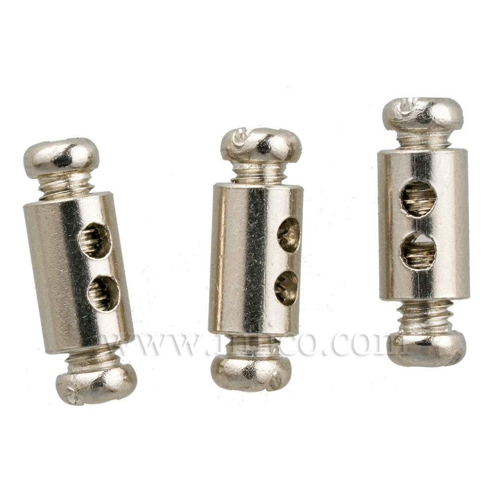 DOUBLE END STOP FOR SUSPENSION CABLE UP TO 2mm STEEL WIRE TWO SCREW FIXING NICKEL PLATED BRASS 12mmx9mm