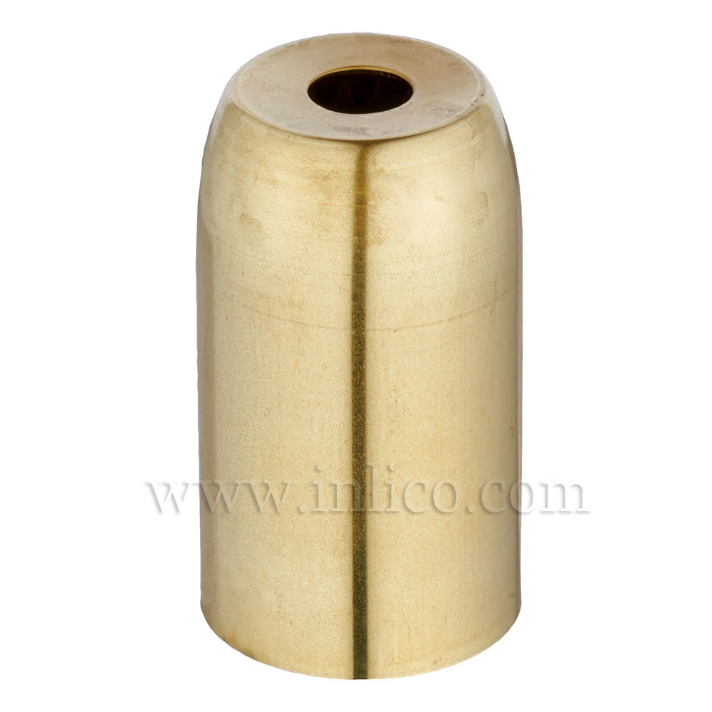 RAW BRASS L/H COVER D32XH54MM WITH 10.5MM HOLE (E075/D)  FOR E14/SES LAMPHOLDERS