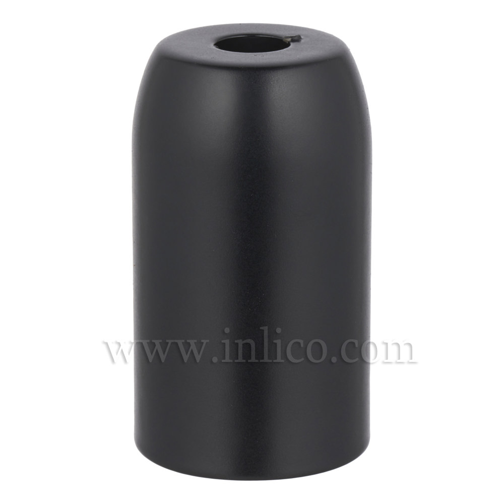 BLACK POWDER COATED STEEL LH COVER D32XH54MM WITH 10.5 HOLE  LAMPHOLDER COVER FOR E14/SES LAMPHOLDERS