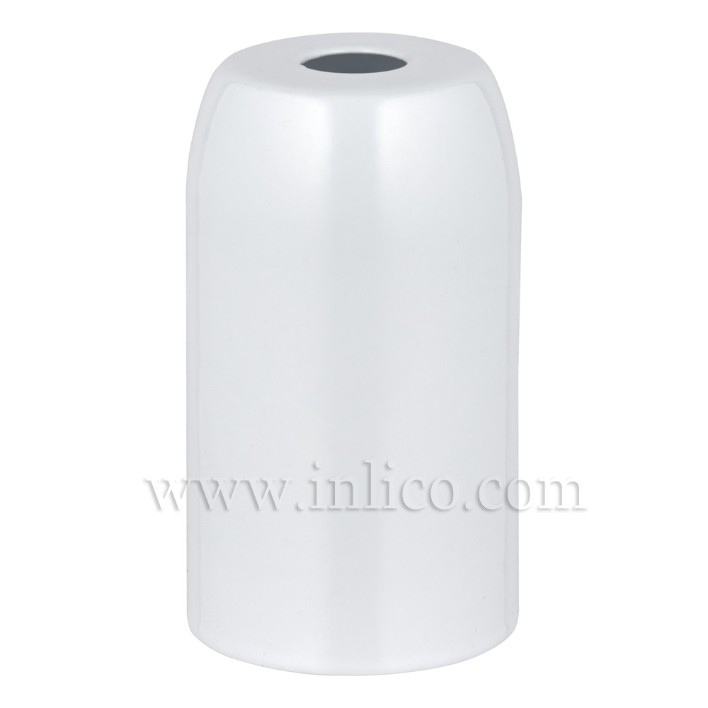 WHITE POWDER COATED STEEL LH COVER D32XH54MM WITH 10.5 HOLE  LAMPHOLDER COVER FOR E14/SES LAMPHOLDERS