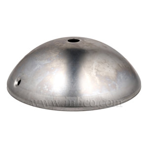 RAW STEEL HALF ROUND CEILING CUP 120mm x 40mm WITH10.5mm CENTRE HOLE AND M4 SIDE HOLES FOR FIXING BRACKET
