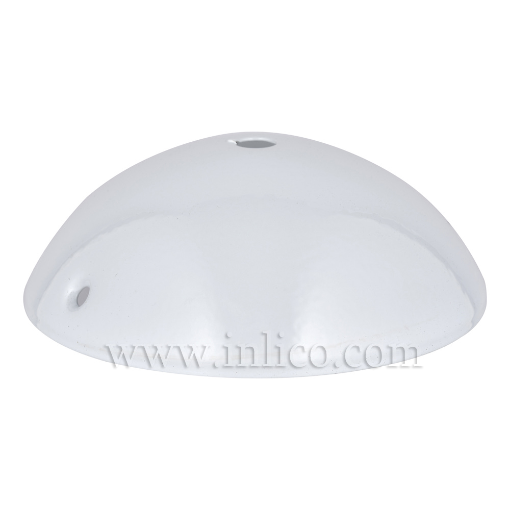WHITE P/COAT STEEL HALF ROUND CEILING CUP120mm x 40mm WITH10.5mm CENTRE HOLE AND M4 SIDE HOLES FOR FIXING BRACKET