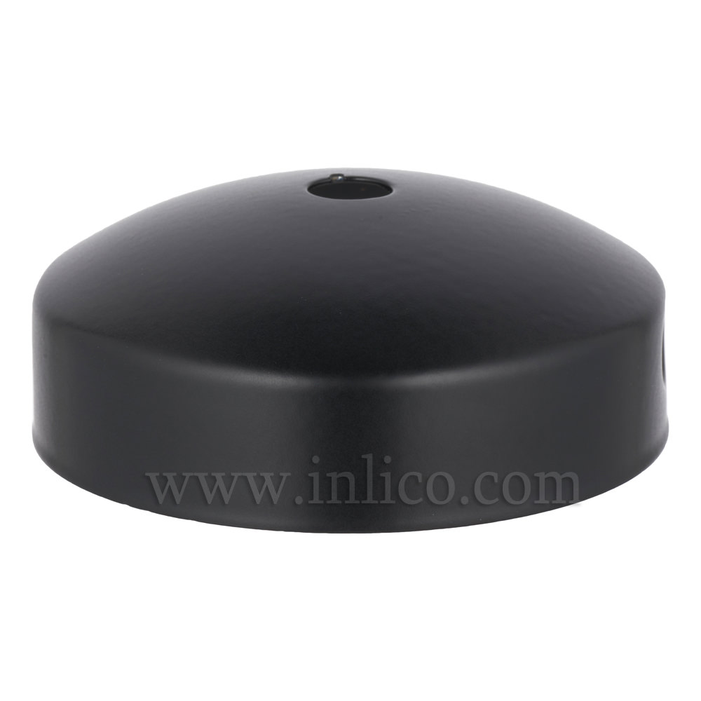 BLACK P/COAT STEEL DOMED CEILING CUP 80mm X 31mm WITH 10.5mm CENTRE HOLE AND M4 SIDE HOLES FOR FIXING BRACKET