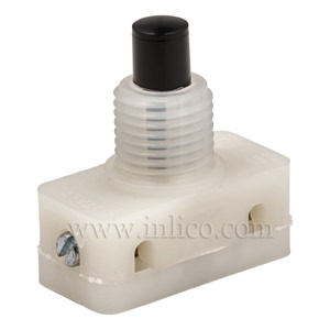 PRESS SWITCH WITH BLACK BUTTON AND 8MM THREAD LENGTH SCREW TERMINALS STANDARD EN61058