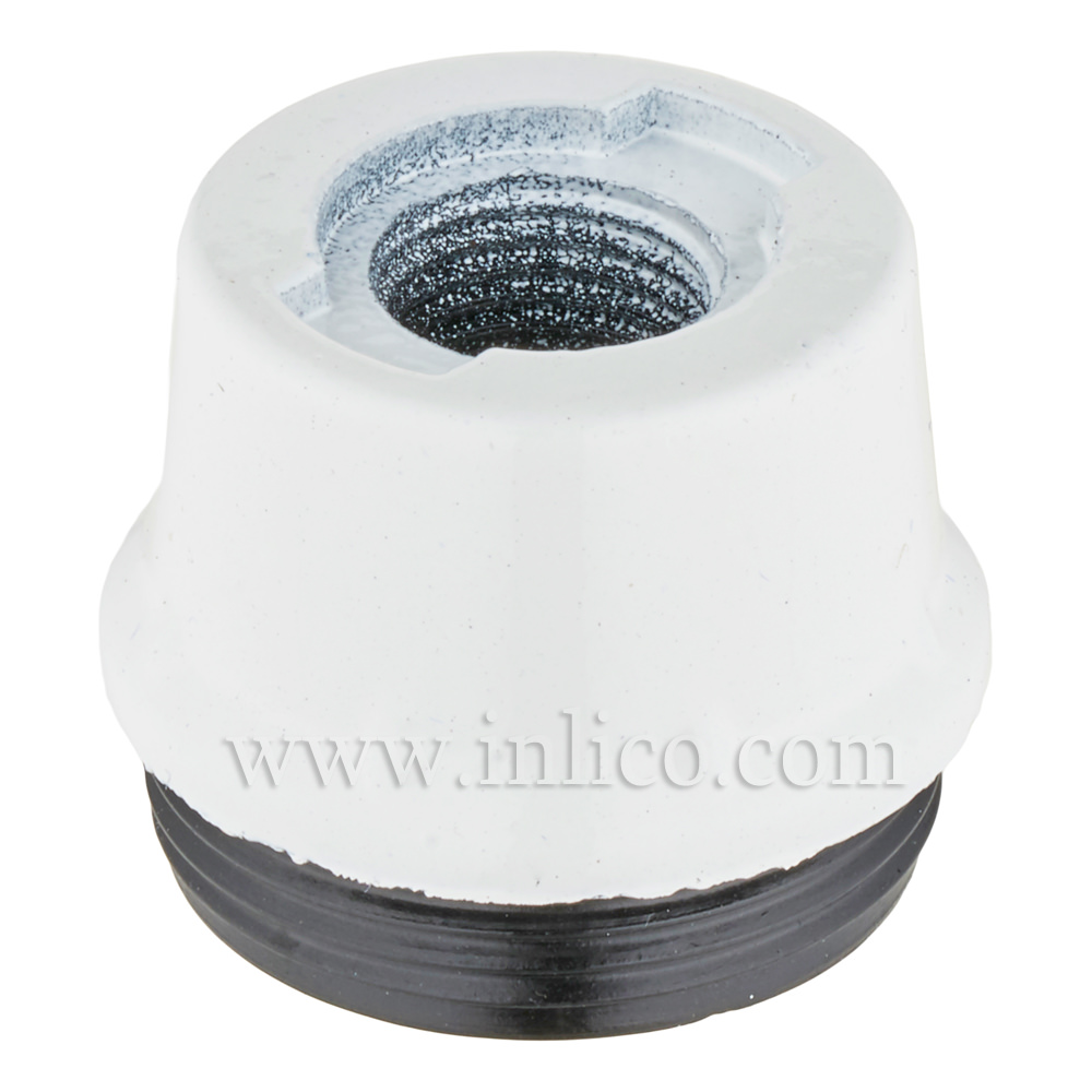 E14 10MM PLASTIC ENTRY DOME WHITE  BAKELITE/THERMOSETTING PHENOLIC RESIN  APPROVAL ENEC05 TO EN60238:2004