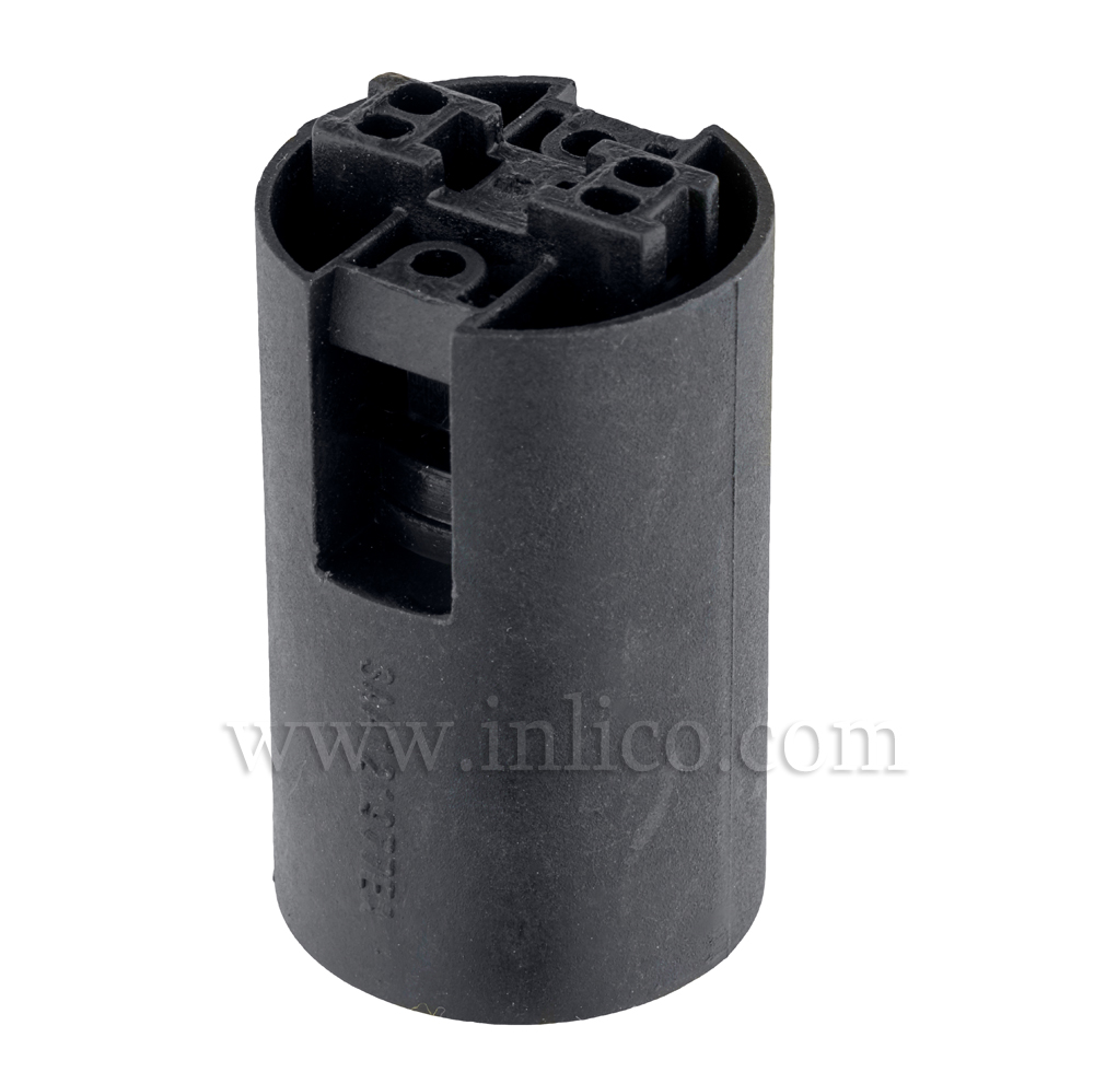 E14 PLAIN SKIRT T210 BLACK LAMPHOLDER WITH PUSH FIT TERMINALS - THERMOPLASTIC  APPROVAL ENEC05 TO EN60238:2004